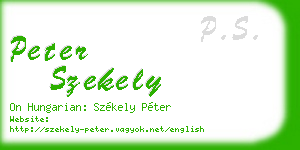 peter szekely business card